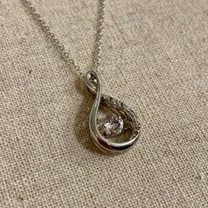 White Sapphire & Sterling Silver Infinity Pendant